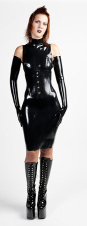 latex woman: standing woman wearing latex clothes
