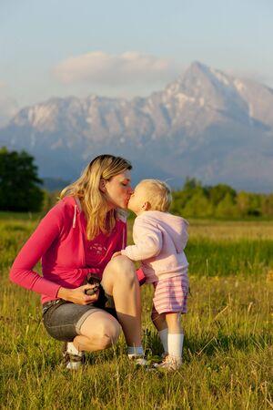 tatras tatry: mother with her baby girl, Krivan, Vysoke Tatry (High Tatras), Slovakia