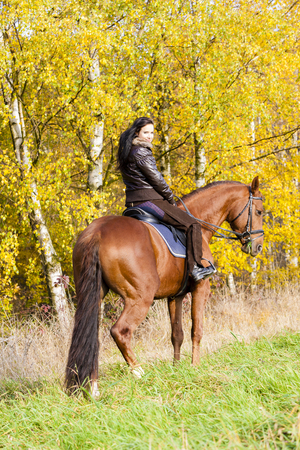 the riding: equestrian on horseback in autumnal nature
