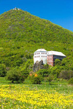 ceske: Milesov Palace and observatory on Milesovka, Ceske stredohori, Czech Republic