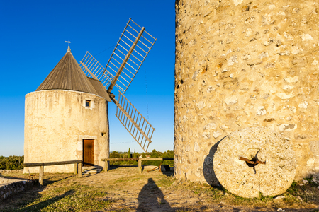 windmills: windmills in Regusse, Provence, France Stock Photo
