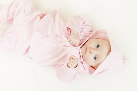 three months old: lying three months old baby girl Stock Photo