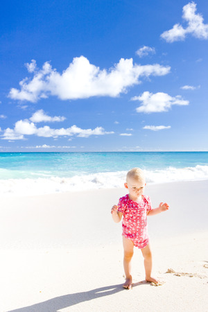 foul: toddler on the beach, Foul Bay, Barbados, Caribbean