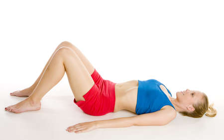 blond haired: exercising woman