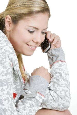 telephoning: portrait of calling woman