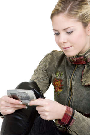 blond haired: portrait of woman with mobile phone Stock Photo