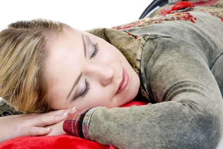 blond haired: portrait of sleeping woman Stock Photo