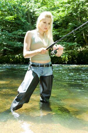 fisherwoman: woman fishing in river
