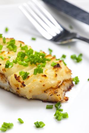 pure de papas: bacalao al horno con puré de patatas