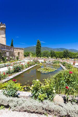 lourmarin: garden and palace in Lourmarin, Provence, France Stock Photo
