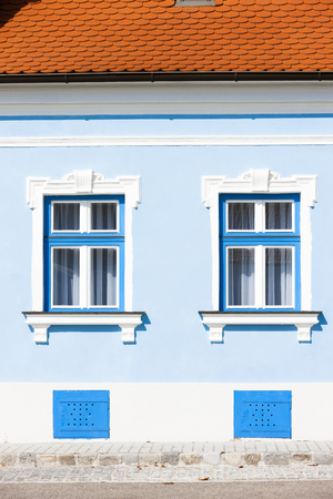 exterior architectural details: windows of house Stock Photo