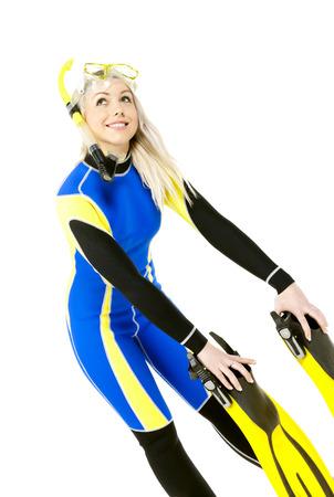 neoprene: standing young woman wearing neoprene with snorkeling equipment