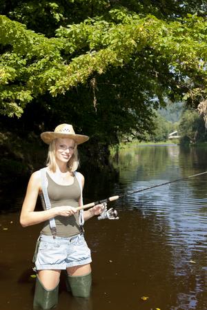 fisherwoman: woman fishing in Jizera river, Czech Republic