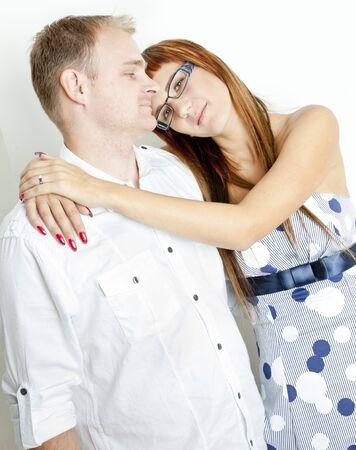 gentleness: portrait of hugging couple