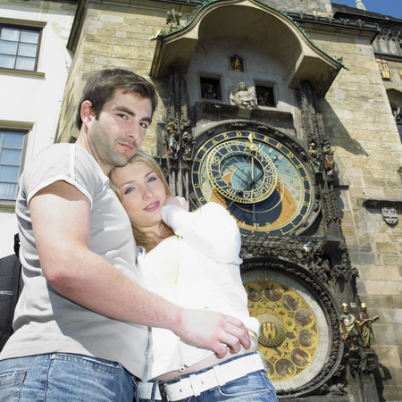 couple in Prague, Horloge, Old Town Hall, Czech Republic