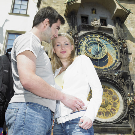 guild hall: couple in Prague, Horloge, Old Town Hall, Czech Republic