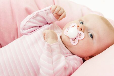 teat: portrait of three months old baby girl