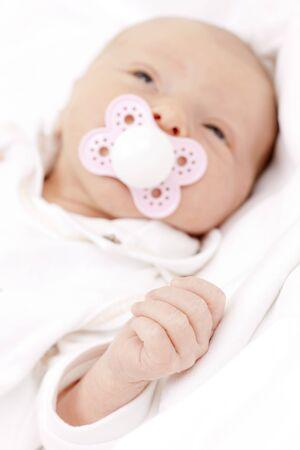 teat: portrait of newborn baby girl Stock Photo