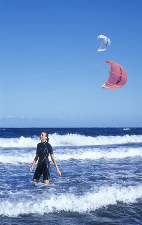 kiteboarding: windsurfer, Tenerife, Canary Islands, Spain Stock Photo