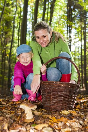mushroom picking: mother with her daughter doing mushroom picking