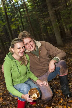mushroom picking: mushroom picking couple