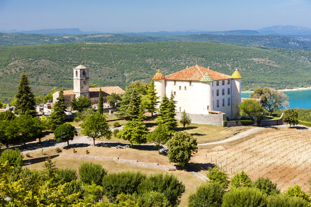 var: chateau and church in Aiguines and St Croix Lake at background, Var Department, Provence, France