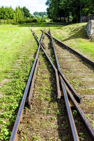 narrowgauge: the crossing of normal and narrow gauge, Elk, Warmian-Masurian Voivodeship, Poland
