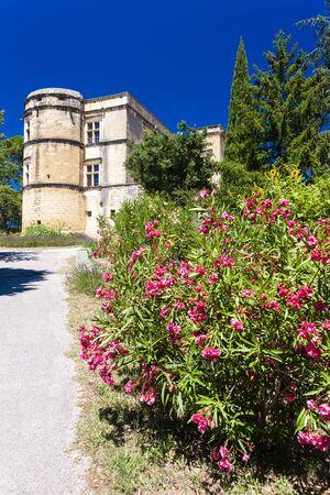 lourmarin: garden and palace in Lourmarin, Provence, France Editorial