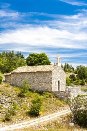 le: chapel in Le Ventouret, Provence, France Stock Photo