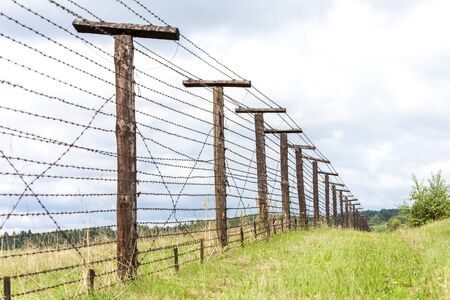 bearded wire: remains of iron curtain, Cizov, Czech Republic