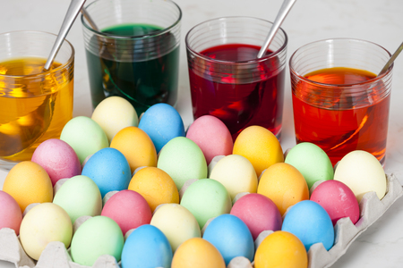 creative egg painting: still life of Easter eggs Stock Photo