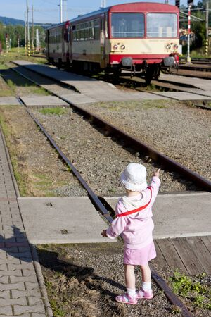 litte girl at railway station, Czech Republic