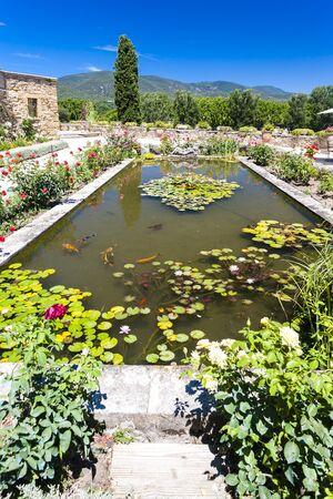lourmarin: garden of palace in Lourmarin, Provence, France Editorial