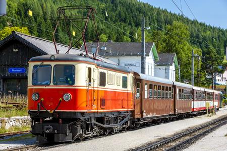 narrow gauge railroad: narrow gauge railway, Mariazell, Styria, Austria Editorial