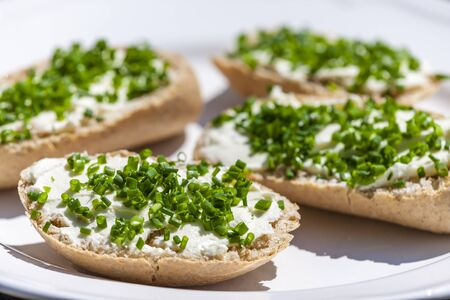 chive: garlic spread with chive Stock Photo