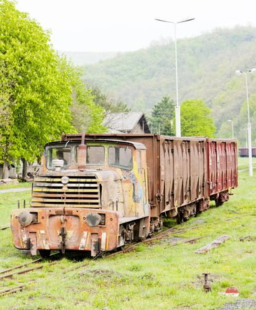 yugoslavia federal republic: freight train, Resavica, Serbia Stock Photo