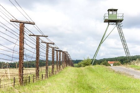 cattle wire wire: patrol tower and remains of iron curtain, Cizov, Czech Republic Stock Photo
