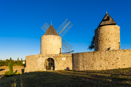 windmills in Regusse, Provence, France Stock Photo