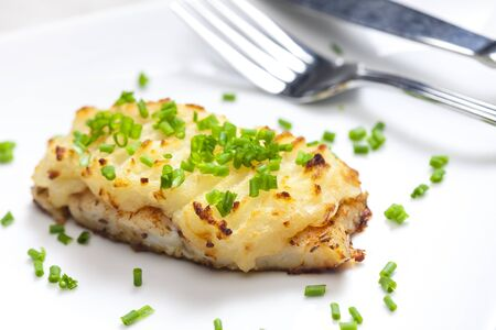 cod baked with mashed potatoes