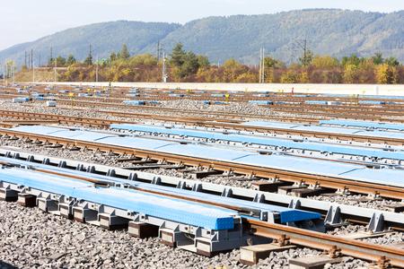 Railway tracks in station Zilina, Slovakia