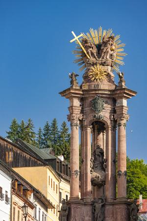 baroque column of Saint Trinity, Saint Trinity Square, Banska Stiavnica, Slovakia 版權商用圖片