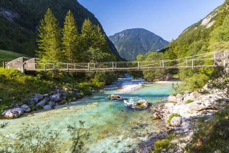 Rope bridge on the river Soca, Triglavski national park, Slovenia