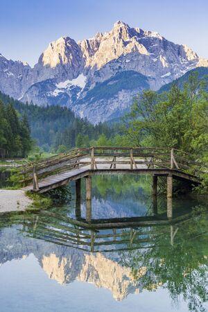 Lake and mountains near the village Kranjska Gora in Triglav national park, Slovenia