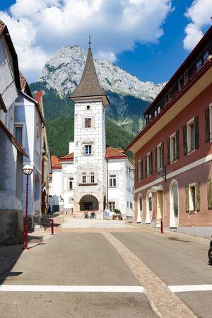 Inner city of old town Eisenerz in Styria, Austria 免版税图像
