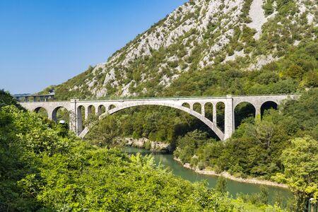 Solkan bridhe on the River Soca, Slovenia Фото со стока