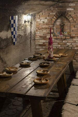 dishes in a medieval tavern, Hungary