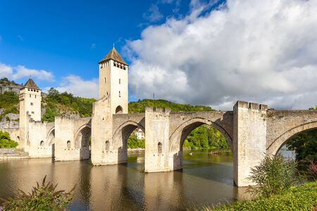 Pont Valentre across the Lot River in Cahors south west France Stock Photo - 130438457