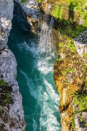 Waterfall to rriver Soca, Velika korita Soce, Triglavski national park, Slovenia