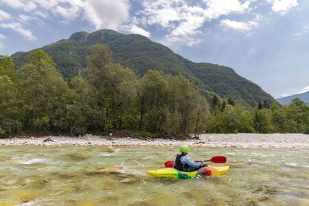 Kayakers on Soca river, Slovenia Stock Photo