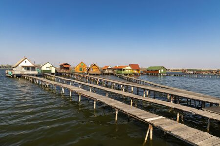 cottages on the piers, Bokodi-to in northern Hungary